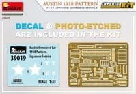 Miniart 1/35 WWI Austin 1918 Pattern (Japanese Service) Interior Kit # 39019